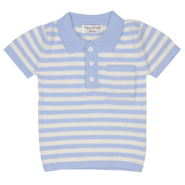 Polo Shirt gestreift Jungen, Farbe: soft blau /wei - Poppy and Ned