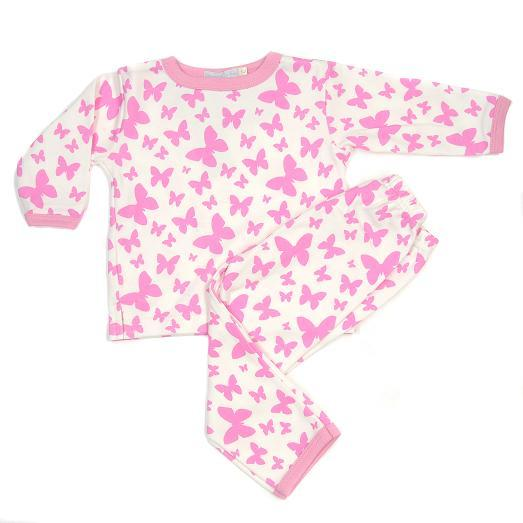 Kinder Pyjama im Schmetterling Design, Farbe: pink - Organics for Kids