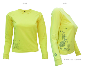 Ladies Long Sleeve Tee with Buddha on Lotus - Chakura by Ku Ambiance