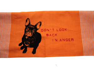 Handgewebtes Fair-Trade-Geschirrtuch 'Don't look back in anger' orange - Hirschkind