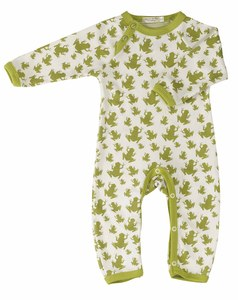 Organics for Kids Strampler mit Froschmotiv,  Farbe: grn-weiss - Organics for Kids