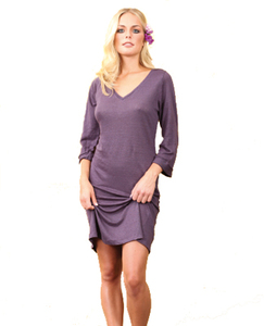 Leinen-Jersey Kleid, violett - Mandala