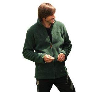 Engel Bio Woll-Fleece Herren Jacke tailliert - Engel natur