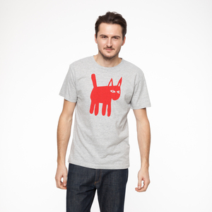 Cat T-Shirt red/melange grey - THOKKTHOKK