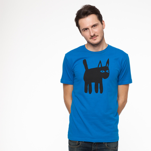 Cat T-Shirt black/french blue - THOKKTHOKK