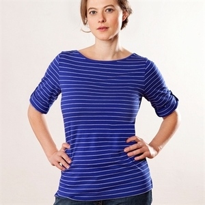 Streifen-Shirt, blau/natur 63818 mit 3/4 Arm Biobaumwolle - Living Crafts