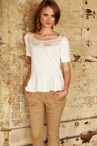 Lace collar print peplum tee von People Tree - People Tree