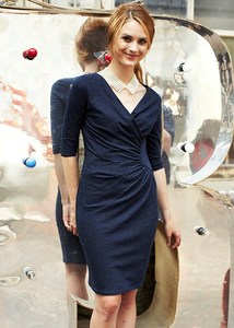 Stella Fitted Dress Navy - PeopleTree