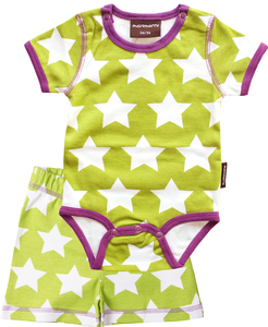 maxomorra Outfit Body & Shorts 'Stars Green' - maxomorra